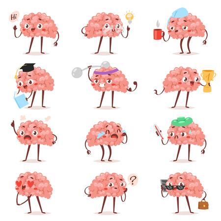 Brain emotion vector cartoon brainy character expression emoticon and intelligence emoji studying loving or crying illustration brainstorming set of businessman kawaii isolated on white background. Vetores