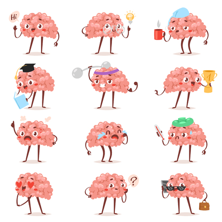 Brain emotion vector cartoon brainy character expression emoticon and intelligence emoji studying loving or crying illustration brainstorming set of businessman kawaii isolated on white background. Illustration