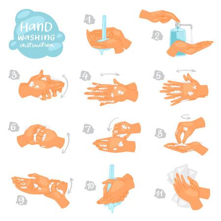 Lavarsi le mani vettore istruzioni di lavaggio o pulizia delle mani con sapone e schiuma in acqua illustrazione set antibatterico di cura della pelle sana con bolle isolato su priorità bassa bianca. Vettoriali