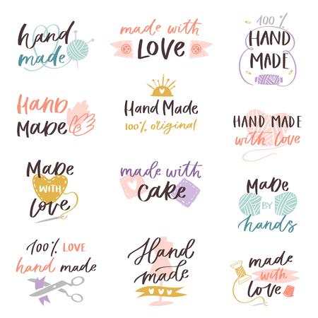 Handmade craft label typography and handicraft calligraphy