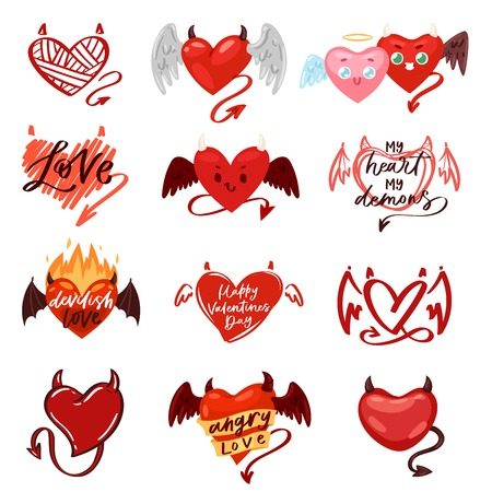 Devil heart love red symbol with horns on loving Valentine day card