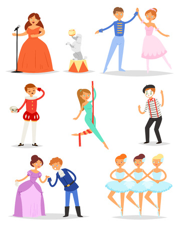 Set of ballerina dancing ballet and showman isolated on white background