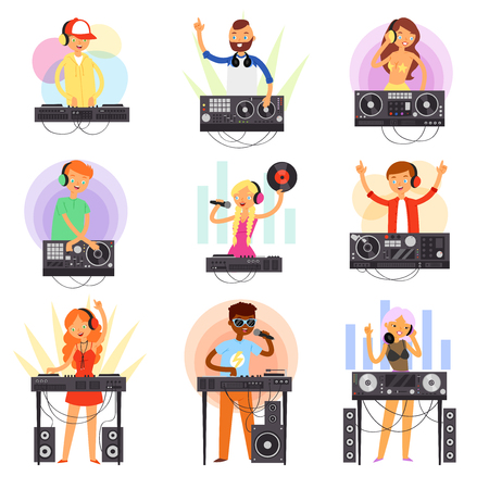 DJ music vector discjockey people character playing disco on turntable sound record in nightclub set of jockey boy girl with audio equipment for playback vinyl discs isolated on white background
