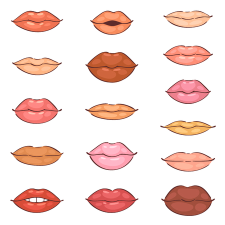 Lip kiss vector cartoon smile and beautiful red lips makeup or fashion girls lipstick and sexy mouth kissing lovely on valentines day set illustration isolated on white background Stok Fotoğraf