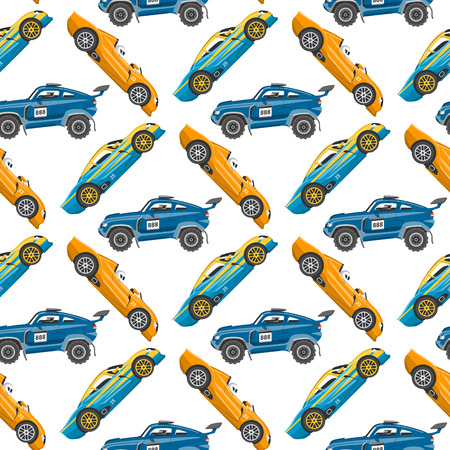 Vector seamless pattern background luxury car transportation detailed design auto business transport design speed graphic. Automobile background.