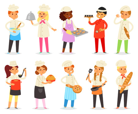 Cooking child children characters boy girl Banco de Imagens