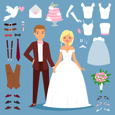 Cartoon wedding bride and groom couple vector illustration of young couple isolated on background and wedding icons like dress, dove, heart and wedding tools icons. Wedding people couple together