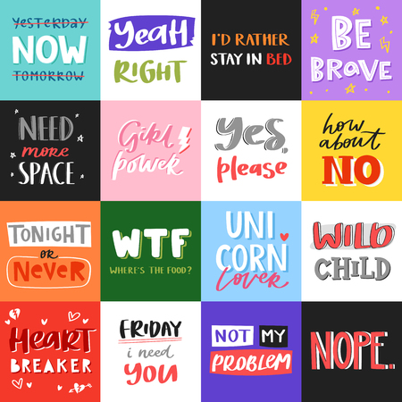Vector slogan quote phrases typography lettering illustration printable message. Typography for t-shirt graphics, print, posters for advertisement banner, slogan, flyer postcard. Çizim