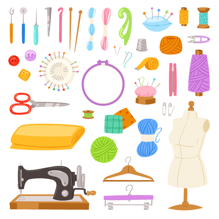 Sewing vector tailor tools sew needle thread scissors fabric spool design for tailoring hobby illustration fashion set of sewer needlework dressmaking accessories isolated on white background.