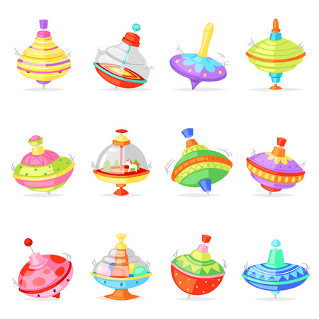 Top toy vector kids whirligig humming spinner colorful spinning playing game illustration set of cartoon childish twirl whipping-top and whirlabout isolated on white background. Stok Fotoğraf - 127428494
