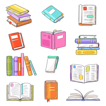 Books vector opened diary story-book and notebook on bookshelves in library or bookstore illustration set of bookish cover of school literature handbook isolated on white background. Stok Fotoğraf - 127428495