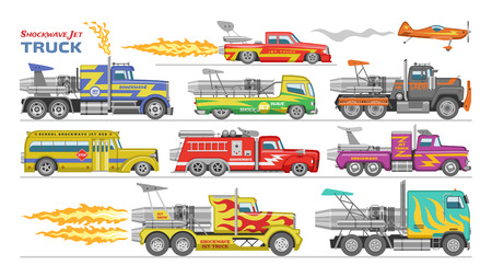 Jet truck vector afterburning race car and flamy drag racing on speedcar on sport event racetrack illustration set of shockwave jetruck afterburner vehicle fire isolated on white background.