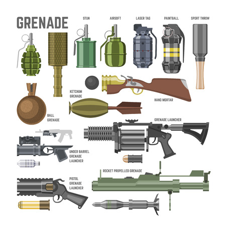 Gun vector military weapon grenade-gun army handgun and war automatic firearm or rifle with bullet illustration set of stun shotgun or grenade launcher isolated on white background