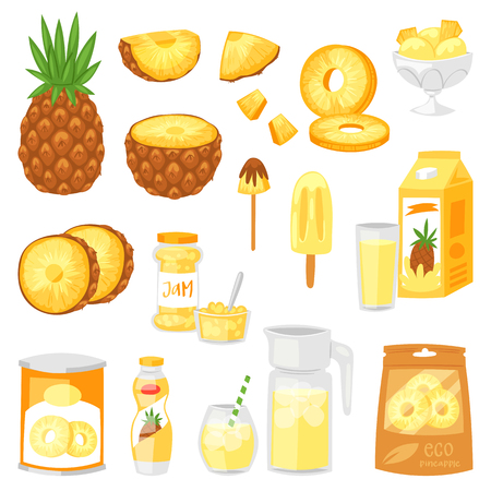 Pineapple vector fresh healthy pine-apple yellow natural juice jam icecream and yoghurt illustration fruity set of tropical exotic fruit slices isolated on white background.