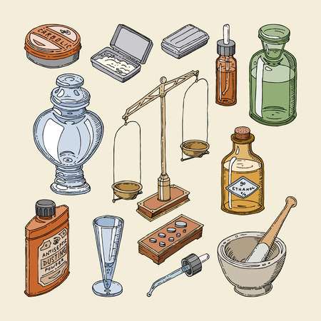 Pharmacy bottles vector vintage medical glass old drug container with chemical liquid medicine and scales illustration pharmaceutical chemistry set isolated on background.