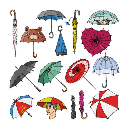 Umbrella vector umbrella-shaped rainy protection open and colorful parasol accessory illustration set of autumn rained protective cover umbrella-stand and modern design isolated on white background