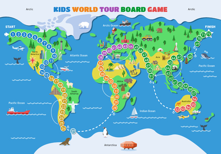 Board game vector world gaming map boardgame with ocean continents gameboard illustration set of global tour map-chart game with start and finish on background. Banco de Imagens