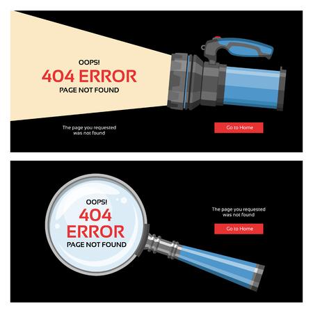 Error 404 page vector internet problem web warning message webpage not found illustration set of erroneous website failure backdrop alert site is broken information magnifier flash-light background. Çizim
