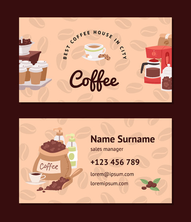 Coffee pattern vector coffeebeans business card coffeecup drink hot espresso or cappuccino in coffeeshop backdrop set mug with caffeine in bar illustration business-card background Stok Fotoğraf - 116657004