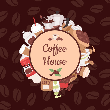 Coffee pattern vector coffeebeans and coffeecup drink hot espresso or cappuccino in coffeeshop backdrop mug with caffeine in bar illustration background Stok Fotoğraf - 116657005