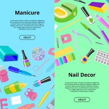 Manicure seamless pattern vector pedicure and manicuring accessory or tools nail-file or scissors of manicurist in nail-bar illustration backdrop set fingernails polish for manicured hands background. Illustration