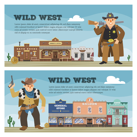 Wild west vector cowboy character saloon western building house in street countryside illustration wildly backdrop of country landscape with construction in town background.