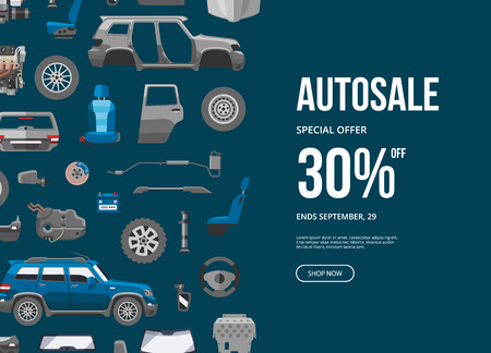 Autosale special offer banner. Car service discount vector illustration. Car detail, repair, gear brake, seat, windshield, wheel, bumper, door, engine components, exhaust system. Stok Fotoğraf - 116657007