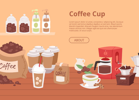 Coffee house concept banner, flyer vector illustration with cartoon cappuccino, latte cups, seeds arabica, cinnamon milk, coffee pot, cookies, anise and sugar for coffee shop. Çizim