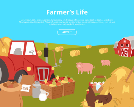 Organic farming and agribusiness banners with cartoon farm equipment, food and animals vector illustration. Tractor surrounded by sacks with potato, boxes with fruits, jar with milk, pigs and hens.
