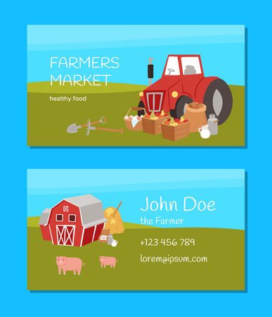Farmers market and agriculture business card with cartoon farm equipment, food and animals vector illustration. Healthy food. Tractor, sacks with potato, boxes with fruits, jar with milk.