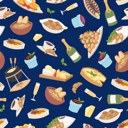 French cuisine vector illustration. Croissant, cheese fondue, champagne glass, frog legs seamless pattern background tasty food and cuisine, dinner, food delicious elements. Restaurant food.