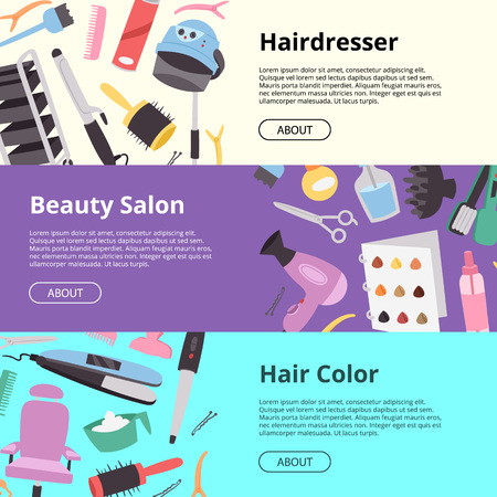 Hairdressing equipment setof banners vector illustration. Hairdresser, beauty salon, hair color. Hair style salon texture with scissors, combs, straightening iron, hair dryer, hairgrip symbols.