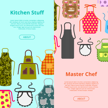 Colorful kitchen aprons with patterns icons banner. Protective garment. Cooking dress for housewife or chef of restaurant vector illustration. Kitchen stuff, master chef brochure, flyer, poster.