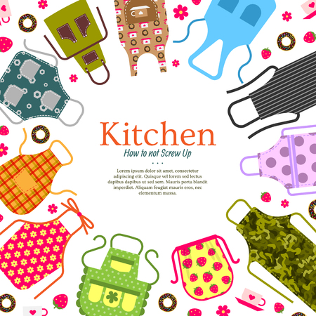Set of colorful kitchen aprons with patterns icons background. Protective garment. Cooking dress for housewife or chef of restaurant vector illustration. How to not screw up poster, banner.