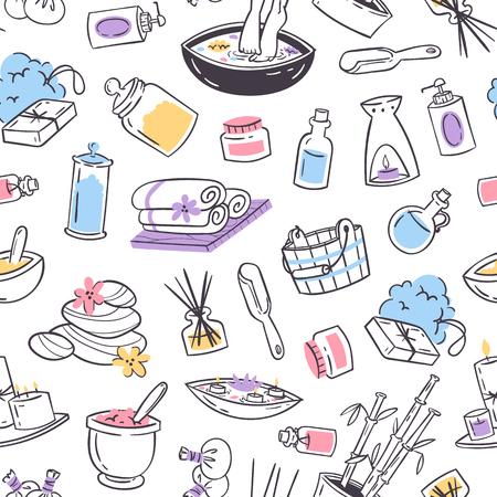 Spa traitement de fond sans couture. Conception pour spa et salon de beauté de magasin de cosmétiques, produits de soins de santé biologiques. Illustration vectorielle de soins de santé pour le corps d'aromathérapie cosmétique.