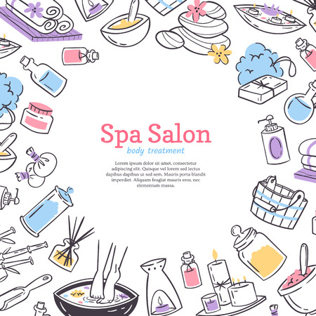 Spa treatment salon poster background. Design for cosmetics store spa and beauty salon, organic health care products. Cosmetic aromatherapy body health care vector illustration. Çizim