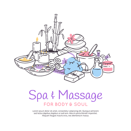 Spa treatment massage salon poster background. Design for cosmetics store spa and beauty salon, organic health care products. Cosmetic aromatherapy body health care vector illustration.