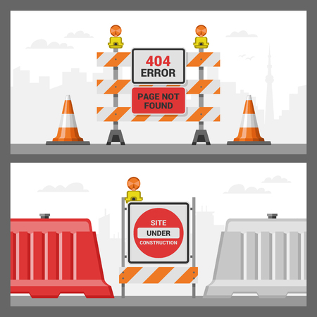Error 404 page vector internet problem web warning message webpage not found illustration set of erroneous website failure roadwork backdrop alert site is broken service information road background.