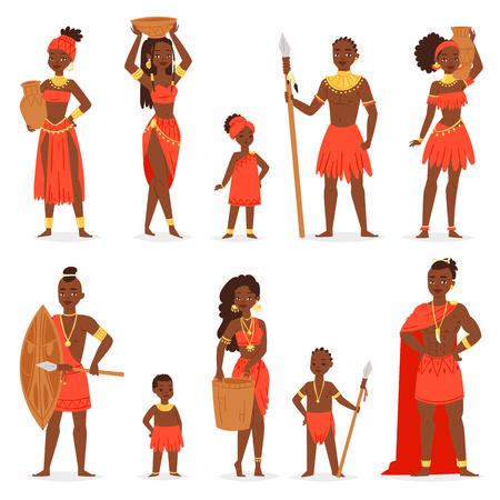 Popolo africano vettoriale carattere di bella donna uomo nero in abito tradizionale abbigliamento tribale in Africa illustrazione etnia insieme di bambini ragazza e ragazzo in costume tribù etniche. Vettoriali