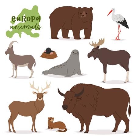 Tiervektor-Tiercharakter im Waldbären-Hirsch-Elch von Europa Wildlife Illustrationssatz der europäischen Raubtier-Bergziege isoliert auf weißem Hintergrund.