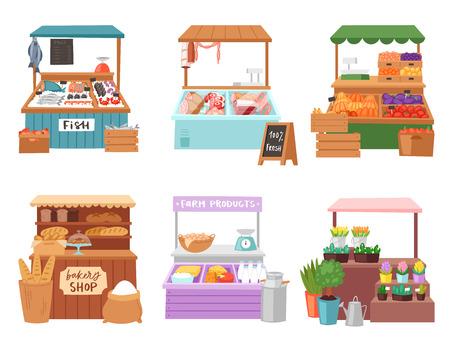 Caractère de vendeur de vendeur de vecteur de marché alimentaire vendant dans le boucher de librairie ou le boulanger dans l'ensemble d'illustration de stalle des légumes de vente de personnes dans l'épicerie ou les poissonniers isolés sur fond blanc Vecteurs