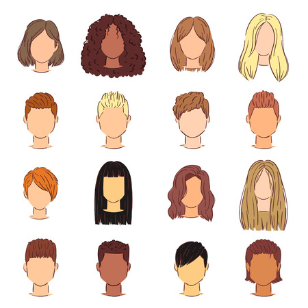 Hairstyle woman vector female haircut head short or long hair and wigs illustration hairdressing or haircutting with coloration of hairdresser isolated on white background.  イラスト・ベクター素材