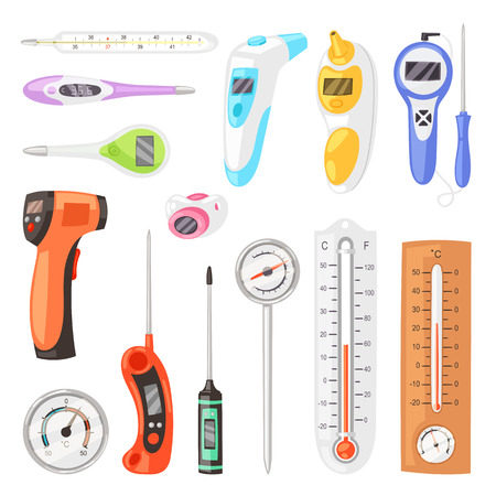 Thermometer vector tempering measurement celsius fahrenheit scale cold hot weather illustration set of tempered meteorology or medical equipment measuring temperature isolated on white background. Çizim