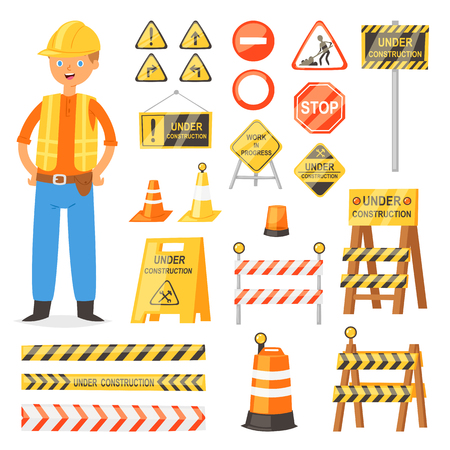 Road sign vector traffic street warning and barricade blocks on highway and builder character illustration set of roadblock detour and blocked roadwork barrier isolated on white background.