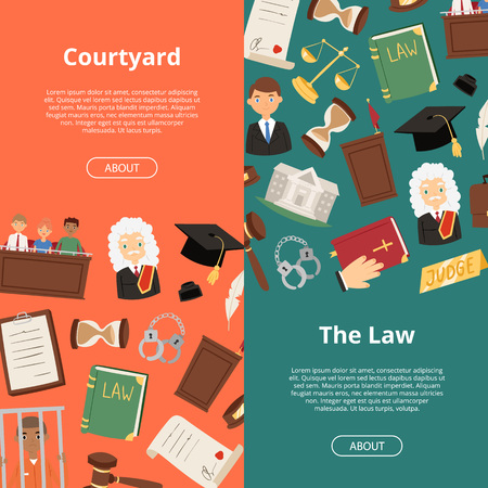 Legal justice lawyer business court judge banner regulatory compliance flat vector illustration. Businessmen discussing steps to comply with relevant laws 일러스트