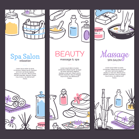 Spa treatment banner background. Design for cosmetics store spa and beauty salon, organic health care products. Cosmetic aromatherapy body health care vector illustration. Çizim