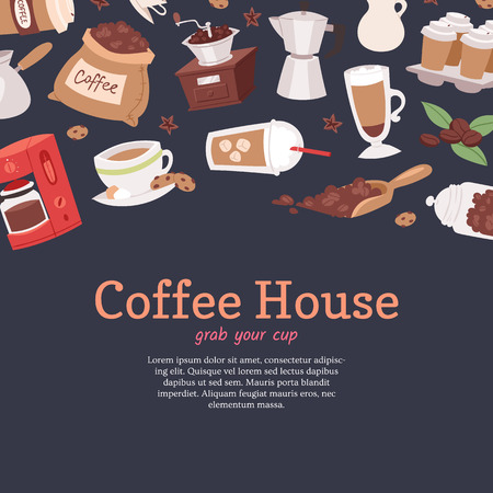 Coffee house banner, poster vector illustration with cartoon cappuccino, cups, seeds arabica, cinnamon, milk, coffee pot, cookies, anise and sugar for coffee house service. Grab your cup. Çizim