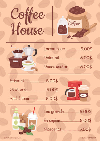 Menu for coffee house with price list vector illustration with cartoon cappuccino, late, cups, seeds arabica, cinnamon, milk, coffee pot, cookies, anise and sugar. Cafe, restaurant carte.