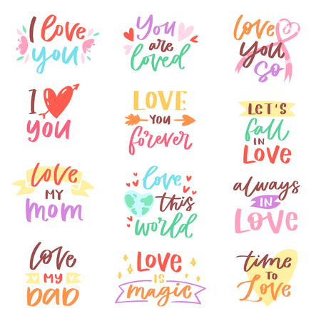 Love lettring vector lovely calligraphy lovable friendship sign to mom dad friend iloveyou on Valentines day beloved card illustration set of family love decor typography isolated on white background.