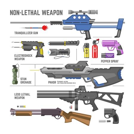 Gun vector military non-lethal weapon or army handgun and electroshok pepper-spray illustration set of shotgun lethal-weapon stun grenade isolated on white background.